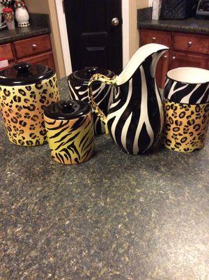 Clay Art Safari Canister Set, Pitcher, Utensil Crock Holder / Vase Zebra Leopard Tiger prints Pottery for Sale in Cantonment, FL