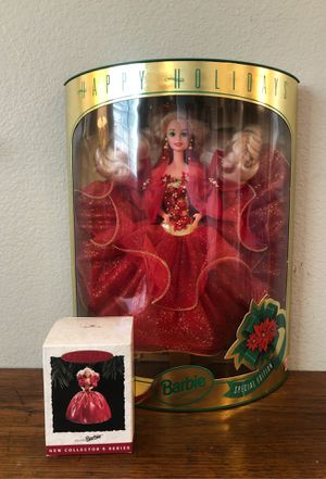 Vintage 1993 HAPPY HOLIDAYS SPECIAL EDITION BARBIE DOLL Mattel Christmas Blonde and hallmark Christmas ornament for Sale in San Bernardino, CA