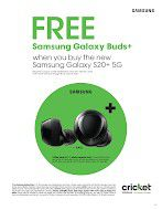 Come get your Samsung wireless earbuds FREE with the purchase! of the Samsung S20 ultra Cricket Wireless Gunbarrel Rd for Sale in Chattanooga, TN