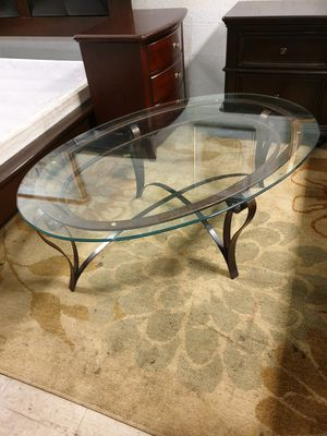 Metal coffee table top glass 52'×34' height 19' in excellent condition for Sale in Sunrise, FL