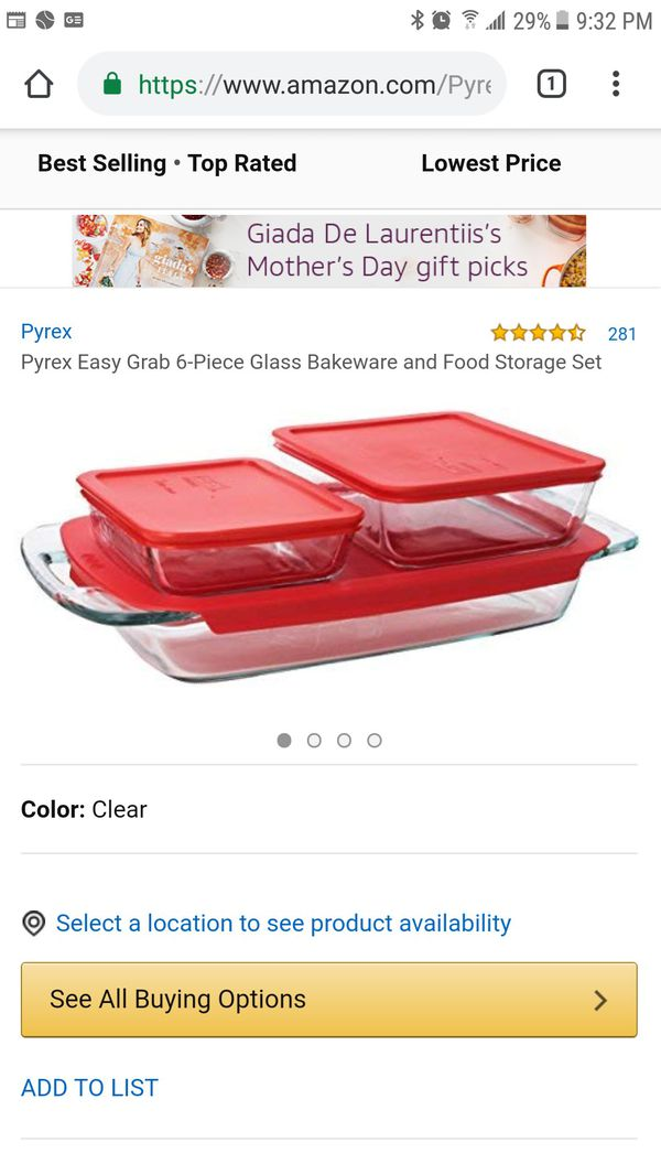 Pyrex Bake N Store 6-Piece Glass Bakeware and Storage Set with Red Lids