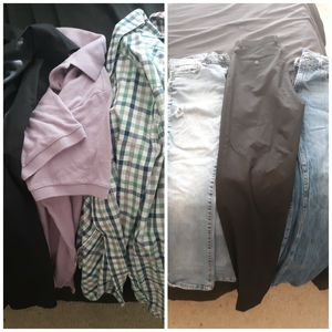 Clothing bundle small shirts 30/30 pants and slacks for Sale in Dallas, TX