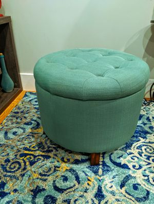 Teal Circular Storage Ottoman for Sale in The Bronx, NY