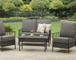 New!! Patio set, coffee table patio set, 4 pc cushioned coffee table patio set, outdoor conversation set, chat set, patio furniture , gray for Sale in Phoenix, AZ