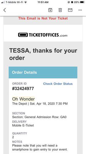 Oh wonder concert tickets for Sale in Spanish Fork, UT