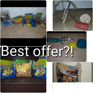 Hamster Gerbil Small Pet food, hay, wheel, toy, water bottle, food tray for Sale in Ashburn, VA