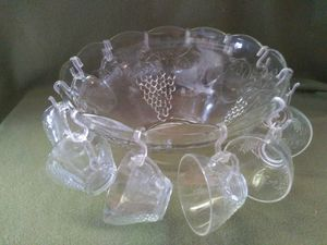 Antique 25 piece Anchor Hocking Glass Punch Bowl Complete Set for Sale in Austin, TX