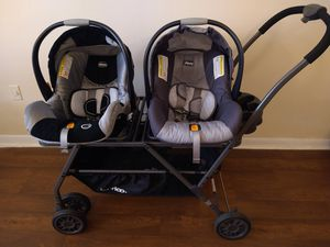Double stroller with baby carrier for Sale in Nashville, TN