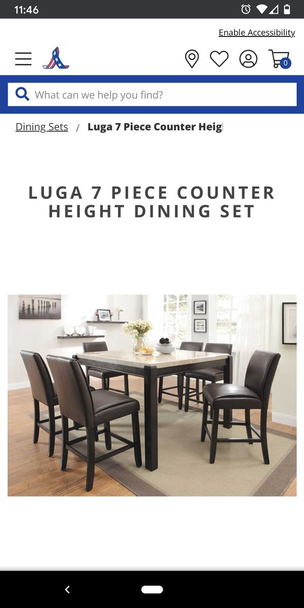 Counter Height 6 Chair Dining Set