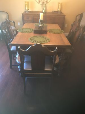 Solid Wood Dining Table with 7 chairs, and Buffet Cabinet for Sale in Erie, PA