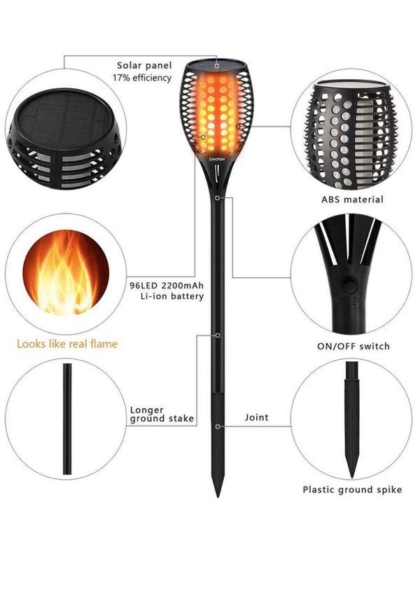 CINOTON Solar Torch Light with Flickering Flame, Solar Path Torch Light Dancing Flame 96 LED Waterproof Dusk to Dawn Solar Garden Lights Outdoor Land