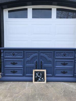 Navy Blue Solid Wood Dresser tv Center Buffet for Sale in Gresham, OR