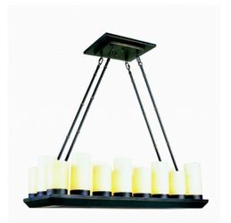 Bel Air Lighting 18-Light Oil Rubbed Bronze Elongated Chandelier with Frosted Glass Shades for Sale in Dallas,  TX