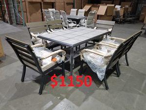 ❥❥❥ luxury outdoor patio dining table set chair furniture sunbrella cushion pillow aluminum steel porch premium quality luxury umbrella for Sale in Houston, TX