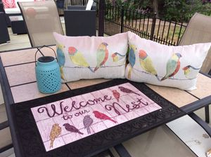 2 pillows solar light and welcome mat. for Sale in Warren, MI