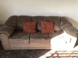 Tan suede sofa set with pillows for Sale in Fontana, CA