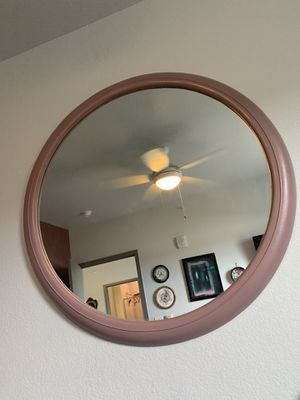 Huge circle wall mirror rose gold color pink for Sale in Sheridan, CO