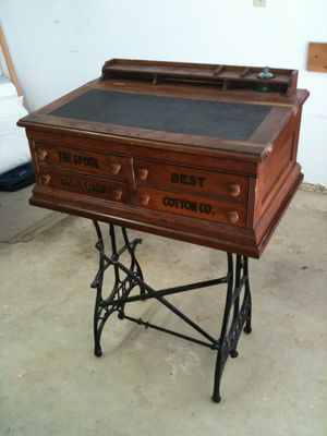 Antique Clark's O.N.T. Handmade Spool Cotton Oak Lift Top Desk & custom stand for Sale in Fuquay-Varina, NC