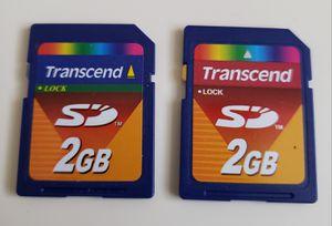 2 Pack Transcend 2GB 2 GB SD Secure Digital Flash Memory Card for Older Cameras. for Sale in Adelphi, MD