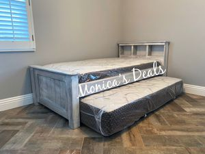 Twin solid wood bed w/bamboo mattress & twin roll out $340 for Sale in Cerritos, CA