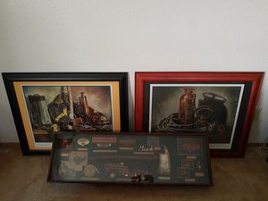 Firefighting wall decor case + 2 framed pictures for Sale in Seattle, WA
