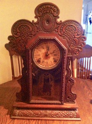 Hand Carved Antique Wooden Clock for Sale in Dacula, GA