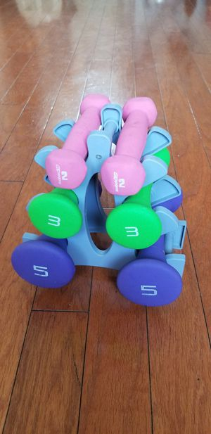 Dumbbell Set with Rack (2lb, 3lb, 5lb Weights) for Sale in Phoenix, AZ