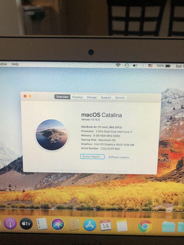 MacBook Air i7, 2 GHz, 8 GB RAM, 256 GB SSD