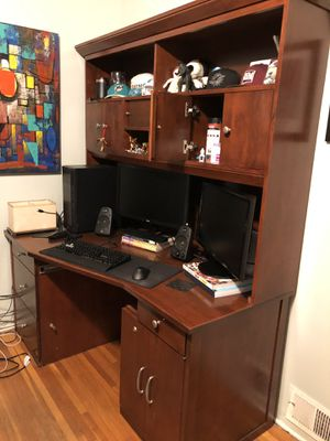 2 pc desk set made of solid wood construction throughout, lots of file drawers and cabinet space w pullout sliding desk . Also included built-in ligh for Sale in San Diego, CA