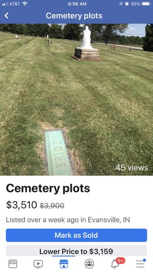 2 Cemetary plots at Sunset Memorial for Sale in Evansville, IN