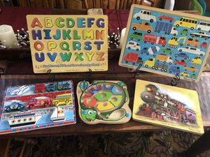 Children's puzzles. Four Melissa & Doug, one Hape. Alphabet and train puzzles are equipped with sound. All are in very good condition. Meet in Cool S for Sale in Brentwood, TN