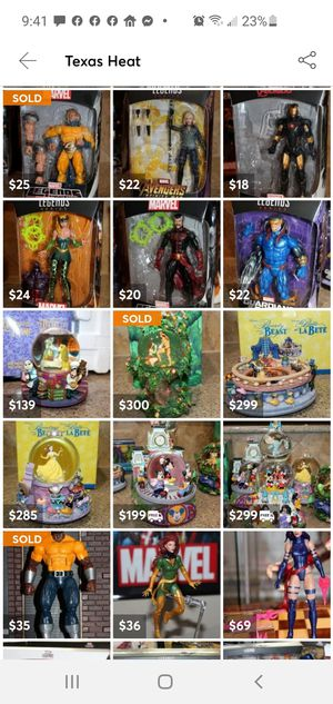 DISNEY snowglobe Marvel Legends Action figures prints COLLECTIBLES for Sale in Pflugerville, TX