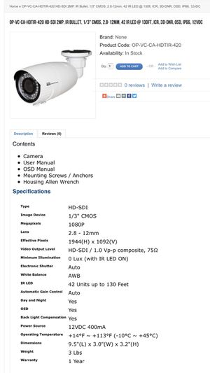 Security Cameras, different types available, water proof for Sale in Park Ridge, IL