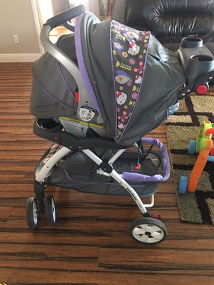hello kitty car seat and stroller set for Sale in Las Vegas, NV