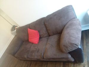 Sofa, very comfortable brown sofa with brown cloth and leather, very stylish for Sale in Alexandria, VA