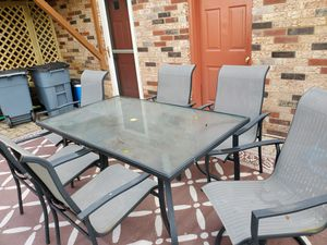 Outdoor furniture...table with 6 chairs. Some rust on 1 swivel chair arm and 1 chair. Good condition. for Sale in Bethel Park, PA