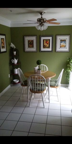 Wooden Table Set with 4 chairs and Glass on Top for Sale in Greenbelt, MD