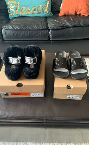 Ugg fur slides w/strap women's 6 and ugg slides kids size 4 both never worn brand new for Sale in Reisterstown, MD