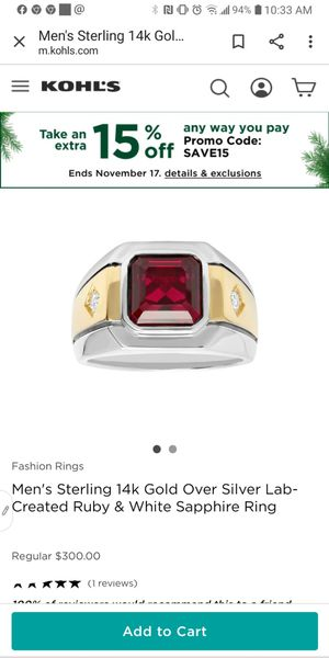 Mens ruby/ ring size 9 for Sale in La Mesa, CA