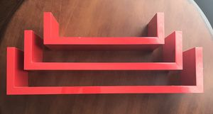 3 Red Floating Wall Shelves for Sale in Flower Mound, TX