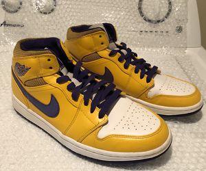 Nike Air Jordan 1 Mid Lakers 2013 Basketball Shoes 554724-708 Men's Size 9 for Sale in Spokane Valley, WA