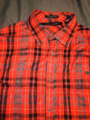 EUC Sean John Mens Designer Plaid/Checkered Casual Shirt Red/Black/Gray, SZ XL for Sale in Chicago, IL