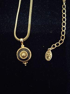 CAROLINA HERRERA vintage, 1980s, Black Enemal Dome Pendant Necklace. for Sale in Richmond, VA