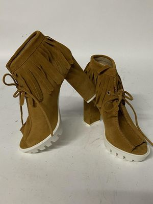 Brand new BCBGMaxAzaria Brown Suede Peep-Toe Booties with Fringe, Size 6.5 for Sale in Tampa, FL