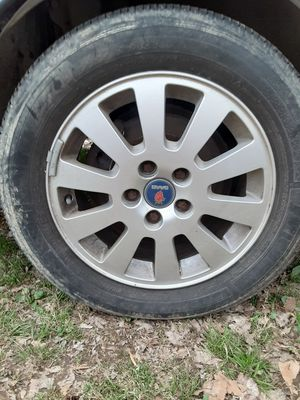 Saab wheels and tires 16 inch wheels 215 55 16 tires full set of 4 for Sale in Bloomington, IN
