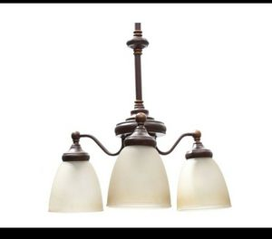 Bristol 3-Light Nutmeg Bronze Reversible Chandelier with Tea-Stained Glass Shades for Sale in Houston, TX