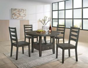 Antique Warm Gray 5 PIECE ROUND PEDESTAL BASE DRAWER DINING TABLE SET for Sale in Downey, CA