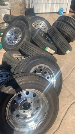 Radial trailer tires chrome wheels for Sale in San Diego,  CA