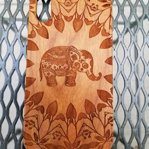 Elephant with flowers design laser engraved wood case for Sale in Newport Beach, CA