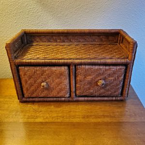 Vintage Woven Hanging Shelf with Drawers for Sale in Portland, OR